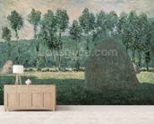 Haystacks near Giverny, c.1884-89 (oil on canvas) wallpaper mural living room preview