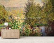 A Corner of the Garden at Montgeron, 1876-7 (oil on canvas) wall mural living room preview
