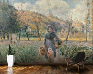 In the Garden (oil on canvas) mural wallpaper