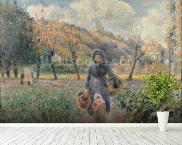 In the Garden (oil on canvas) mural wallpaper room setting