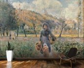 In the Garden (oil on canvas) mural wallpaper kitchen preview