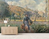 In the Garden (oil on canvas) mural wallpaper living room preview