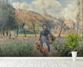 In the Garden (oil on canvas) mural wallpaper in-room view