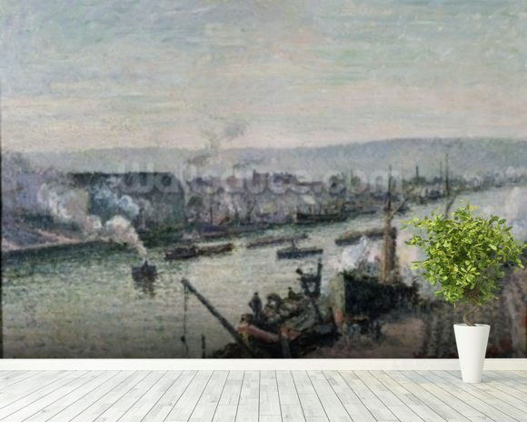 Saint-Sever Port, Rouen, 1896 (oil on canvas) mural wallpaper room setting
