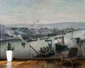 Saint-Sever Port, Rouen, 1896 (oil on canvas) mural wallpaper kitchen preview
