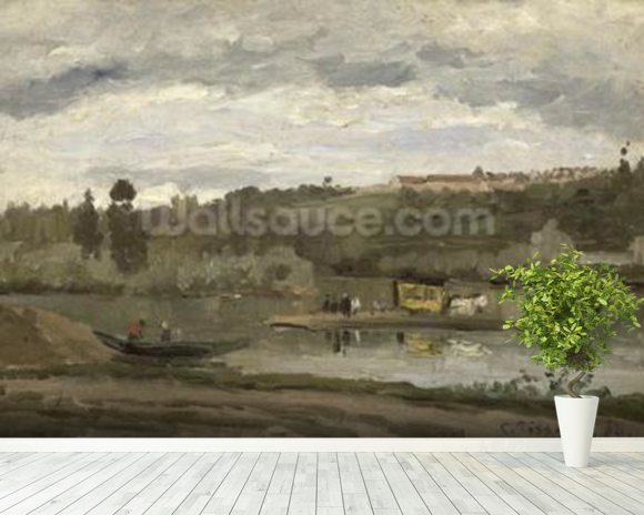 Ferry at Varenne-Saint-Hilaire, 1864 (oil on canvas) wallpaper mural room setting