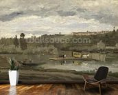 Ferry at Varenne-Saint-Hilaire, 1864 (oil on canvas) wallpaper mural kitchen preview