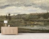 Ferry at Varenne-Saint-Hilaire, 1864 (oil on canvas) wallpaper mural living room preview