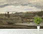 Ferry at Varenne-Saint-Hilaire, 1864 (oil on canvas) wallpaper mural in-room view