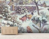 Effet de Neige a Montfoucault, 1882 (oil on canvas) mural wallpaper living room preview