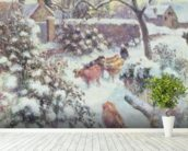 Effet de Neige a Montfoucault, 1882 (oil on canvas) mural wallpaper in-room view