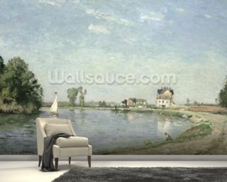 At the Rivers Edge, 1871 (oil on canvas) wall mural
