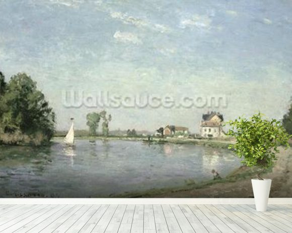 At the Rivers Edge, 1871 (oil on canvas) wall mural room setting