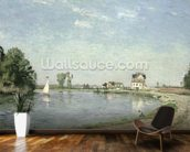 At the Rivers Edge, 1871 (oil on canvas) wall mural kitchen preview