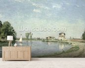 At the Rivers Edge, 1871 (oil on canvas) wall mural living room preview