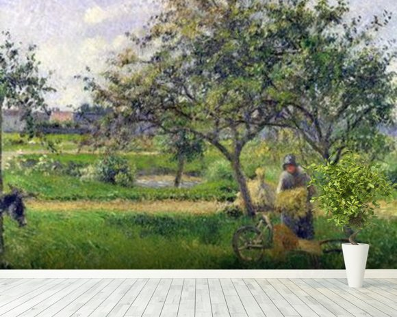 The Wheelbarrow, Orchard, c.1881 (oil on canvas) wallpaper mural room setting
