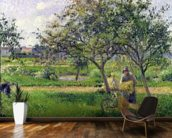 The Wheelbarrow, Orchard, c.1881 (oil on canvas) wallpaper mural kitchen preview