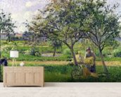 The Wheelbarrow, Orchard, c.1881 (oil on canvas) wallpaper mural living room preview