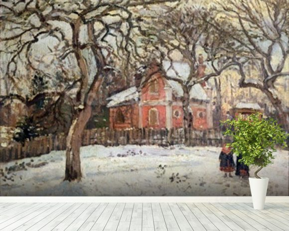 Chestnut Trees at Louveciennes, c.1871-2 (oil on canvas) wallpaper mural room setting