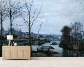 The Washing House, Pontoise Port-Marly, or The Wash-house, 1872 (oil on canvas) mural wallpaper living room preview