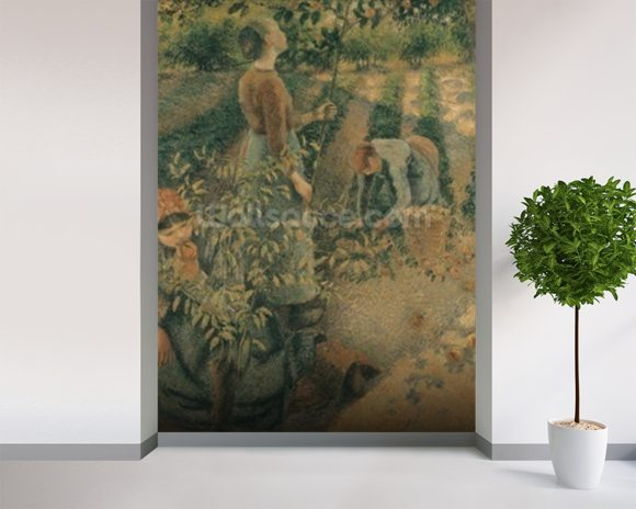 The Apple Pickers, 1886 (oil on canvas) wallpaper mural room setting