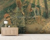 The Apple Pickers, 1886 (oil on canvas) wallpaper mural living room preview