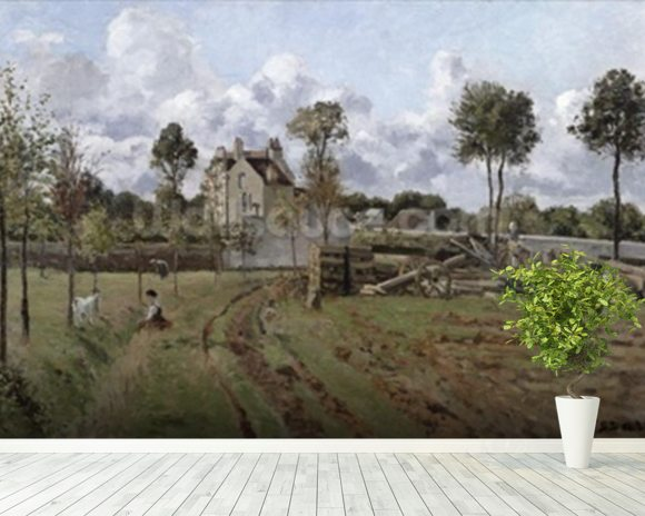 Pontoise Landscape, c.1872 (oil on canvas) mural wallpaper room setting