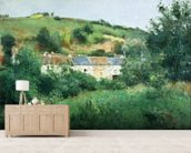 The Path in the Village, 1875 (oil on canvas) wall mural living room preview