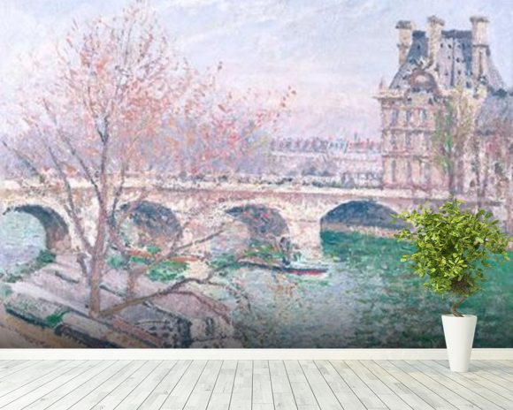 The Pont-Royal and the Pavillon de Flore, 1903 (oil on canvas wallpaper mural room setting