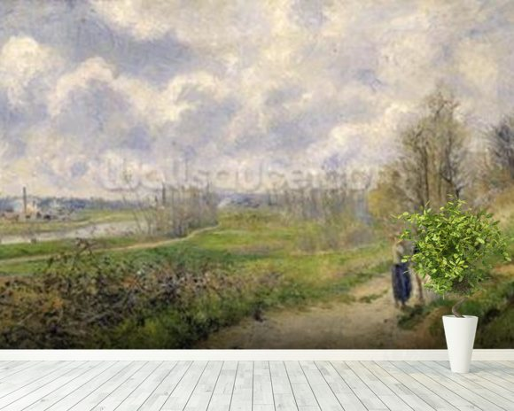 La Sente du Chou, near Pontoise, 1878 (oil on canvas) mural wallpaper room setting