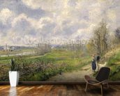 La Sente du Chou, near Pontoise, 1878 (oil on canvas) mural wallpaper kitchen preview