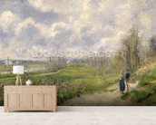 La Sente du Chou, near Pontoise, 1878 (oil on canvas) mural wallpaper living room preview