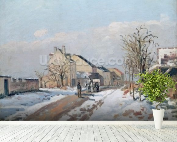 The Road from Gisors to Pontoise, Snow Effect, 1872 (oil on canvas) wall mural room setting
