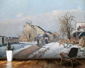 The Road from Gisors to Pontoise, Snow Effect, 1872 (oil on canvas) wall mural kitchen preview