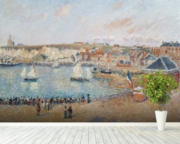 The Outer Harbour at Dieppe, 1902 (oil on canvas) wallpaper mural room setting