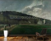 Banks of the river Marne in winter, 1866 (oil on canvas) mural wallpaper kitchen preview