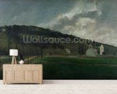 Banks of the river Marne in winter, 1866 (oil on canvas) mural wallpaper living room preview