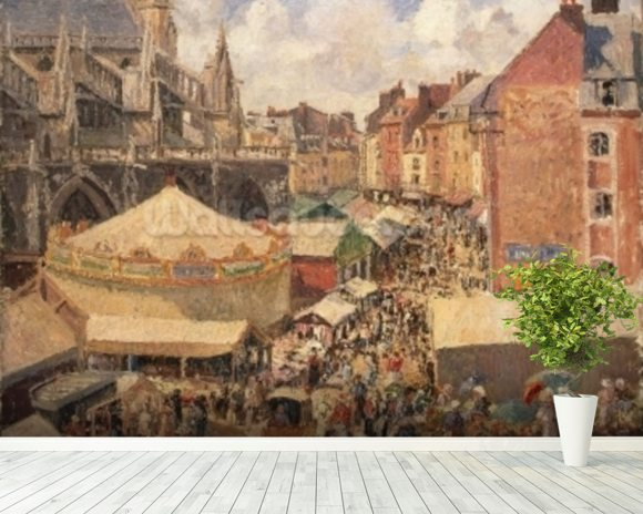 The Fair in Dieppe, Sunny Morning, 1901 (oil on canvas) wall mural room setting