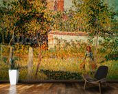 Woman in the Meadow at Eragny, Spring, 1887 (detail of 37361) (oil on canvas) wallpaper mural kitchen preview