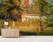 Woman in the Meadow at Eragny, Spring, 1887 (detail of 37361) (oil on canvas) wallpaper mural living room preview