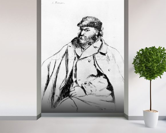 Self-Portrait, 1874 (pen and ink on paper) mural wallpaper room setting