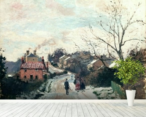 Fox hill, Upper Norwood, 1870 (oil on canvas) wallpaper mural room setting