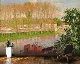 Sunset at Moret-sur-Loing, 1901 (oil on canvas) wallpaper mural