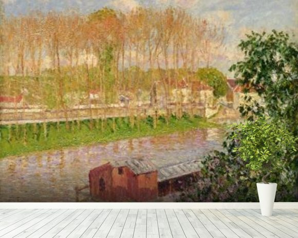 Sunset at Moret-sur-Loing, 1901 (oil on canvas) wallpaper mural room setting