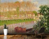 Sunset at Moret-sur-Loing, 1901 (oil on canvas) wallpaper mural kitchen preview
