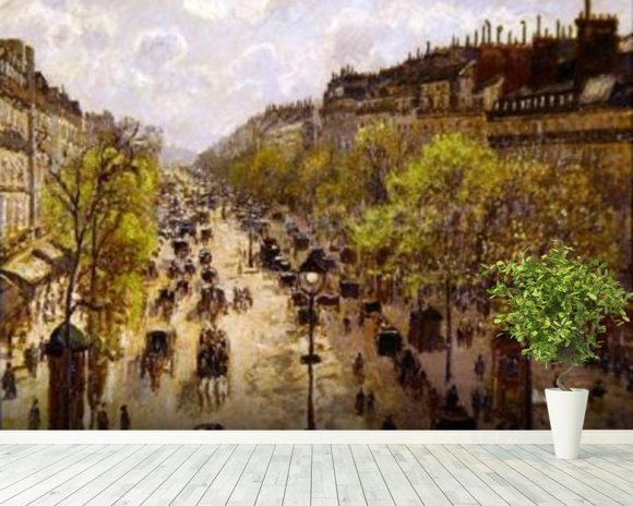Boulevard Montmartre, Spring, 1897 (oil on canvas) mural wallpaper room setting
