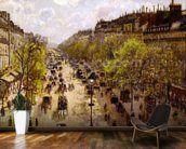 Boulevard Montmartre, Spring, 1897 (oil on canvas) mural wallpaper kitchen preview