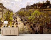 Boulevard Montmartre, Spring, 1897 (oil on canvas) mural wallpaper living room preview