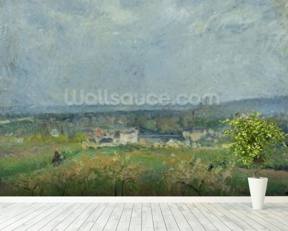 Landscape in Pontoise, 1877 (oil on canvas) wallpaper mural room setting