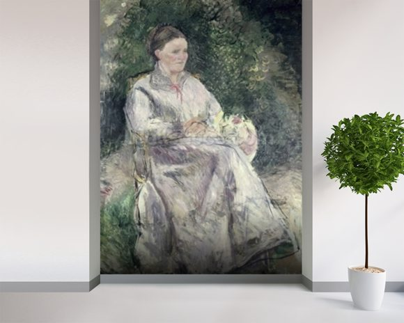 Portrait of Julie Velay, Wife of the Artist, c.1874 (oil on canvas) wall mural room setting